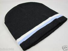 C8:New Imported Unisex Beanie Hat/Bonet-Black with Blue & White Trim