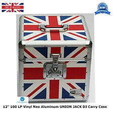 "2 X NEO Aluminum UNION JACK Storage DJ Carry Case for 100 Vinyl LP 12"" Records"