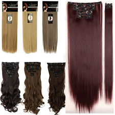 100% Real Natural Full Head Clip in Hair Extensions 8Pieces on Straight Wavy LK