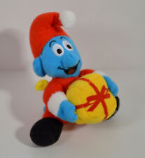 "RARE 2000 Christmas Smurf 4"" McDonald's EUROPE Plush Action Figure #12 Smurfs"