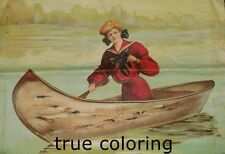"""Antique Colorful Lithograph Picture on Linen Victorian Lady Canoe 21x21"""" Picture"""