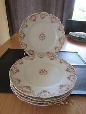"""SET OF 3 T&V LIMOGES FRANCE PINK ROSE GARLAND SWAG  9 1/2"""" DINNER PLATES"""