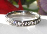 Ladies eternity ring band simulated diamonds stainless steel stacking channel 3m