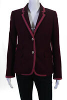 J Crew Womens Wool Notched Long Sleeve Button Down Peacoat Purple Size 4