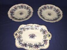 Antique Charles Meigh Flow Blue Opaque Porcelain Serving Pieces (4 Pcs) c1850's