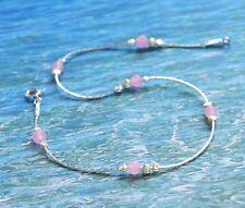 ANKLET 925 Sterling Silver Rose quartz chain Ankle Bracelet dainty  Made in UK