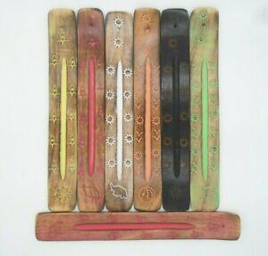 New Colours Wooden Incense Stick Holder Burning Joss Insence Ash Insense Burner