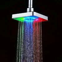 "6""Temperature Sensor Color Square Bathroom LED Rain Top Shower Head"