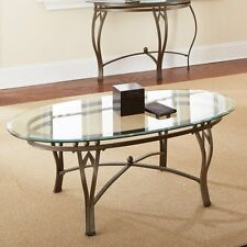 Steve Silver Madrid Oval Glass Top Coffee Table, Clear