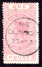 NEW ZEALAND POSTAL-FISCAL #AR15 ₤1 ROSE, 1882, VG-F, CDS