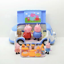 Peppa Pig Blue Touring Camping Car Pinic Play Set & 4pcs peppa Family Baby Gift