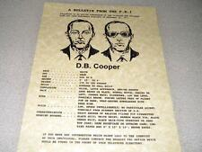 D.B. COOPER WANTED  POSTER REPRODUCTION ON 24 LB PARCHMENT PAPER 8 1/2 x 11