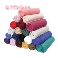 Women Ladies Scarf Cotton Maxi Viscose Scarves Shawl Muslim Hijab Solid Color