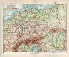 Map Map 1907: Central Europe River and Mountain-Card. Geology Geography