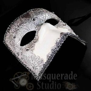 Masquerade Mask Mens Silver Lace Bauta Venetian Costume Theater Halloween Mask