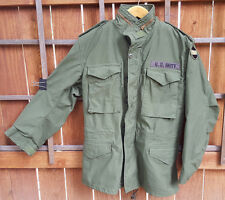 U.S. Army Cold Weather Coat-M-Green-Mens-Zip in Hood-Field OG-107, 2 Patches