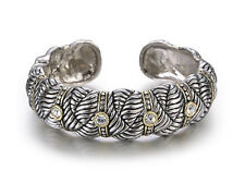 Rhodium Plated Two Toned Braided Design Cuff Bracelet With Clear Rhinestones