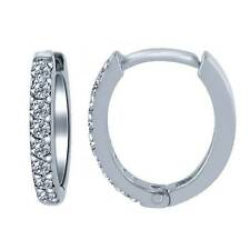 0.20 Carat Diamond Brilliant Women's Huggie Hoop Earrings 14k White Gold