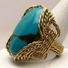 J and S New Turquoise Wire Wrapped Ring 14k Gold Filled Size Selectable