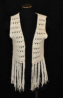 VTG 80s BoHo CHIC Hippie Coachella White Open Knit Crochet Fringe Vest Top M