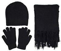 Adult Men Women Plain Knitted Winter Set Snow Ski Beanie Hat Gloves and Scarf