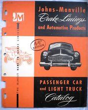 Johns Manville Car Brake Lining Catalog ASBESTOS 1951