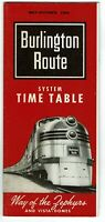 ⫸ 529 Burlington Route May Oct 1964 System Passenger Timetable