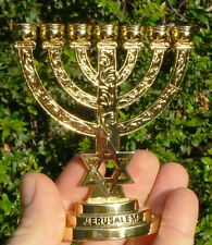 "JERUSALEM TEMPLE MENORAH 4"" Jewish Lamp Candelabra David Star Judaica Holy Land"
