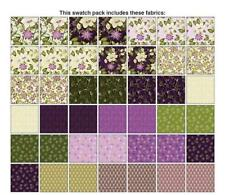 "Benartex Ribbon Floral Plum Purple Gold Floral 5"" Charm Fabric Squares Quilt Kit"