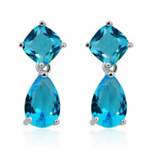 Awesome New Silver Plated Square & Pear Topaz Blue CZ Stud Drop Dangle Earrings