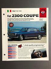 "1961 - 1968 Fiat 2300 Coupe IMP ""Hot Cars"" Spec Sheet Folder Brochure Awesome"