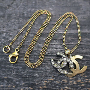 CHANEL Gold Plated CC Logos Rhinestone Vintage Necklace Pendant #6855a Rise-on