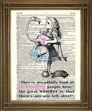 """ALICE nel Paese delle Meraviglie & Flamingo, Regina di Cuori Corte: Tenniel ART PRINT 10x8 """""""