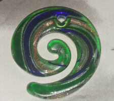 Green & Blue With Silver/Gold Stardust Round Lampwork Glass Pendant 49x46MM DIY
