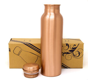 Ayurveda Good Health Benefit 100% Pure SOLID Copper Water Bottle Leak Proof