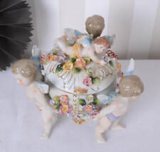 JEWELRY BOX ANGEL FIGURE Porcelaine Box with Lid Cupid Baroque Style