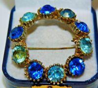 Vintage Gold Tone Blue Rhinestone Wreath Brooch Pin 11L 75