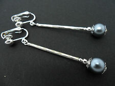A PAIR OF LOVELY  SILVER PLATED GREY PEARL DROP CLIP ON  EARRINGS. NEW.