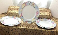 """3 Lynns Fine China Pearl ALICE Lily Blue Ring Floral 10-1/2"""" DINNER PLATES"""