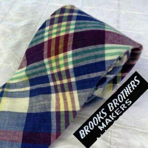 Vintage BROOKS BROTHERS 100% Cotton Madras Plaid Tie Necktie Blue Maroon Cream