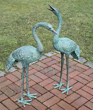 Bronzeskulptur, Kranichpärchen, Dekoration für Garten mit Wasserspeier *