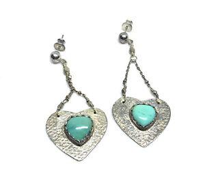 Southwest Sterling Silver Turquoise Stone Heart Chain Dangle Stud Earrings