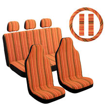 10pcs Baja Blanket Orange Car Seat Covers Saddle Universal For Suv Sedan