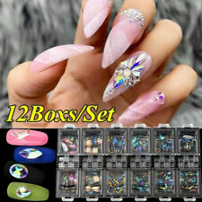 3D Ab Diamond Gems Nail Glitter Rhinestone Glass 12 Grid Crystal Nail Art Decor