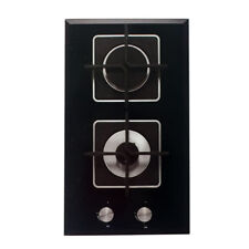 30cm Glass Top Cooktop 2 Burners Gas Compact Design Black for Small Kitchen