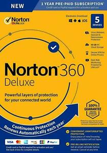 Norton 360 Deluxe 2020 / 2021 - 3 Device/ 5 Devices / 1 Year / VPN / 50 GB Cloud