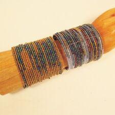 2 Blue Denim Gold Wide Color Block Boho Cuff Handmade Bracelets Bali Seed Bead