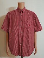 Walt Disney World Mickey Mouse Red White Plaid S/S Button Shirt Size L Cotton