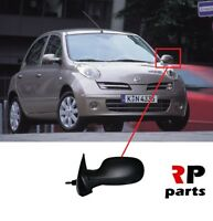 FOR NISSAN MICRA 2003 - 2009 NEW WING MIRROR MANUAL BLACK LEFT N/S LHD