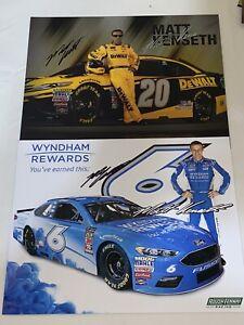 (2) Matt Kenseth DEWALT WYNDHAM ROUSH JGR NASCAR CHAMP autographed photos LOT